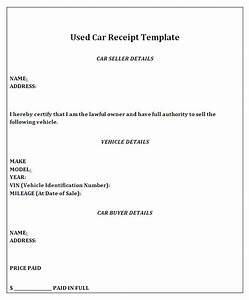 vehicle sale receipt template