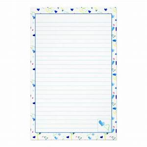 Blue hearts lined stationery letter writing paper zazzle for Lined letter writing stationery