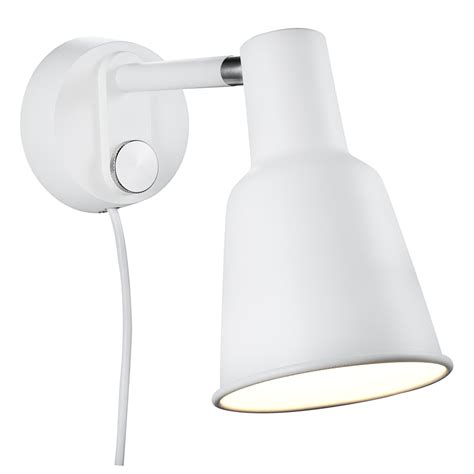 contemporary white wall light in powered and switched