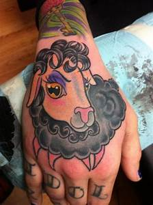 Cute girly colorful sheep tattoo on hand - Tattooimages.biz