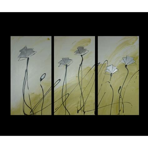 piece abstract poppies canvas painting  lime green