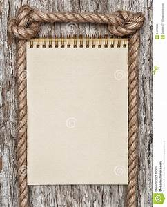 Rope, Paper Spiral Notebook And Wood Background Stock ...