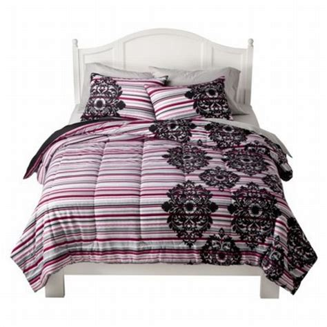 xhilaration twin xl pink gray stripe damask comforter