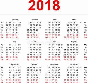 Mall För 2018 Kalender Vertikala Veckor Första Dag Måndag