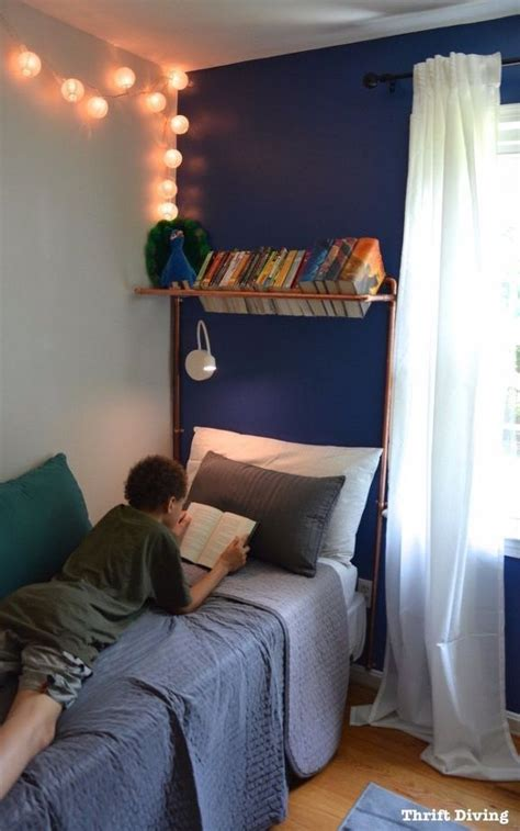 boys blue accent wall bedroom makeover