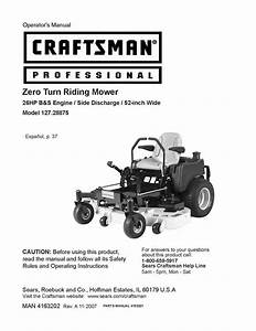 Craftsman Operators Manual Zero Turn Rear Riding Mower
