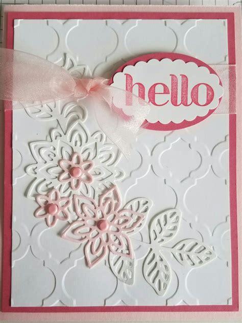 flourish thinlits stampin  card regal rose  pink