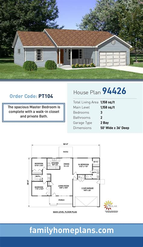 ranch style house plan    bed  bath  car garage house layout plans house