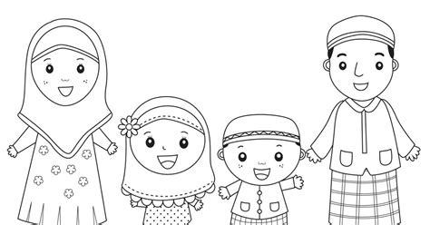 contoh gambar  mewarnai anak muslim terbaru