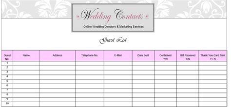 printable wedding guest checklist template wedding ideas