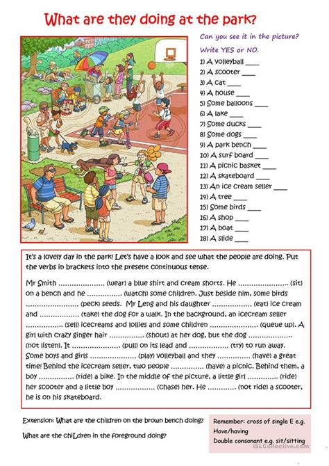 park worksheet  esl printable worksheets