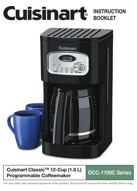 Has been added to your cart. CUISINART DCC-1100C - COFFEE MAKER - 12 CUP INSTRUCTION BOOKLET Pdf Download | ManualsLib