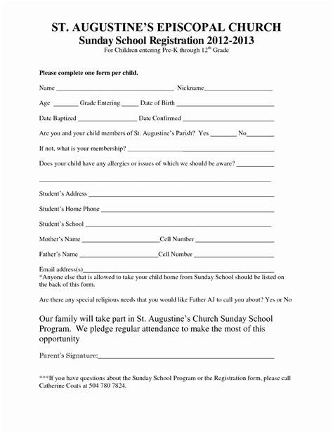sunday school registration form template cutei