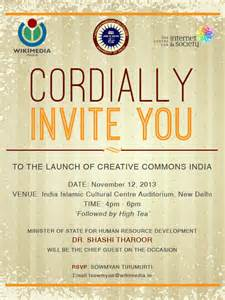 luncheon invitation events creative commons india launch wikimedia india chapter