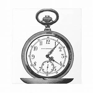 Vintage drawing OF pocket watch (19th century) Notepad ...
