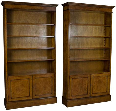 new matching pair of walnut bookcases with doors bookshelves cabinets light ebay