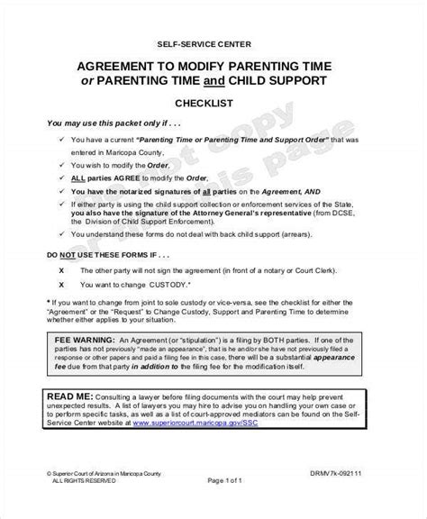 parenting agreement templates    documents