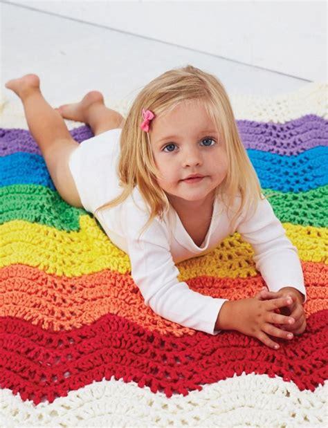 baby wearable blanket pattern wavy rainbow crochet baby blanket pattern favecrafts com