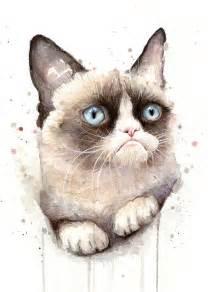 cat painting grumpy cat watercolor painting by olga shvartsur
