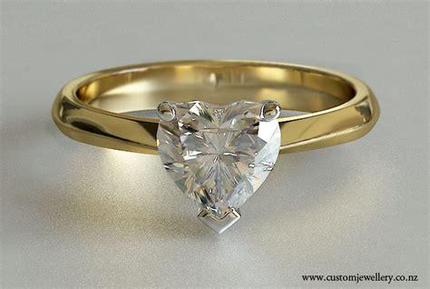 heart diamond soliraire yellow gold engagement ring knife