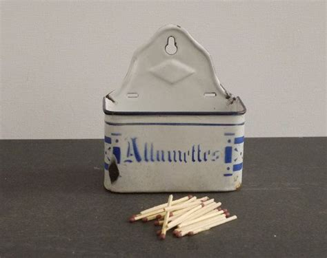 Fausses Tuiles by Charming Blue And White Enamel Matches Box Par With