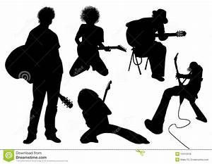 Vector Silhouette Musician With Guitar Stock Vector ...