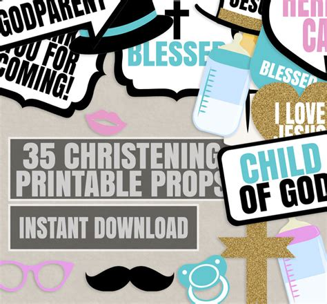 christening photo booth props props  christening