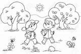 Wood Coloring Cartoon Walking Boy Designlooter Young Vector Illustration sketch template