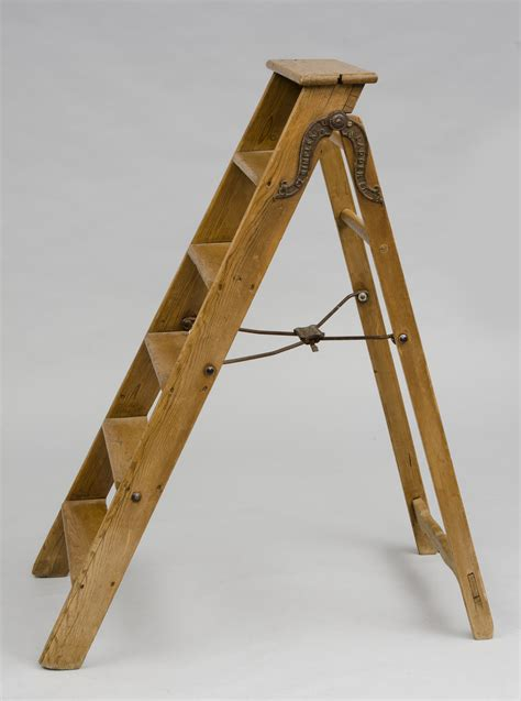 antique english victorian pine step ladder labeled simplex