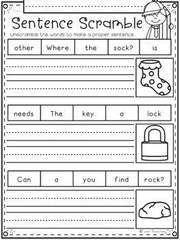 sentence scramble worksheets for kindergarten sentence