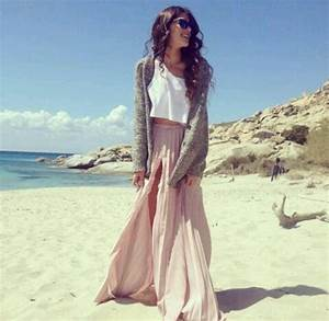 Cute crop top and maxi skirt topped of with a nice knitted sweater | Clothing | Pinterest ...