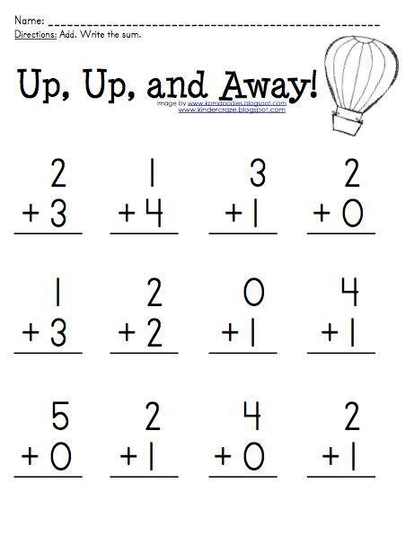 Free Addition Practice For Sums 05 At Kindercraze!  At School  Pinterest Worksheets