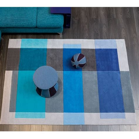 tapis de salon intersection gris et bleu par arte espina