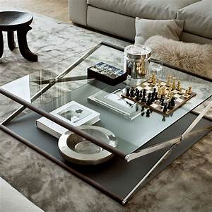 Nox glass wood and metal coffee table by gallotti radic for Glass inlay coffee table