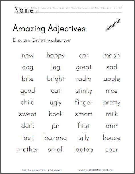 amazing adjectives worksheet   print  file