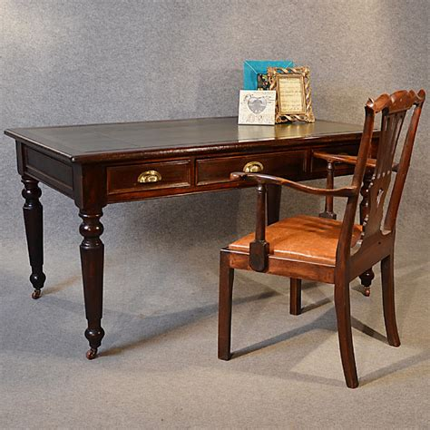 vintage mahogany desk antique desk large leather mahogany library 3242