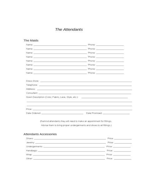 wedding planning worksheets sample