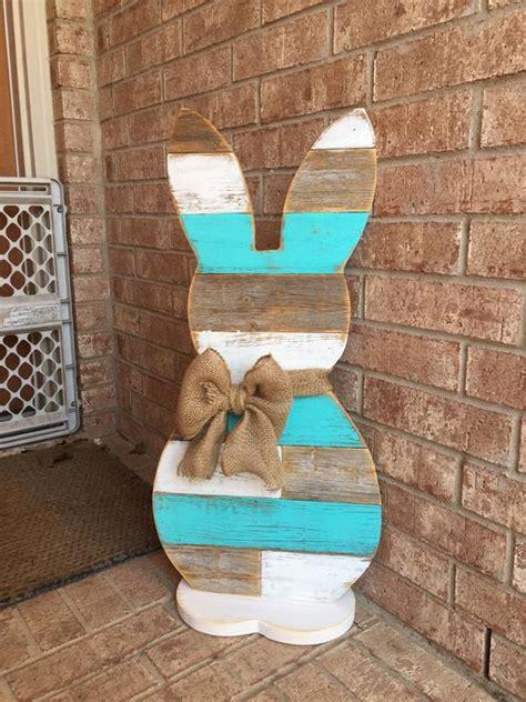 wood standing bunny   easter bunny reclaimed wood