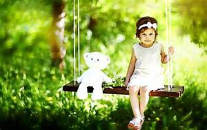 Little pretty girl swing with teddy bear - New hd ...