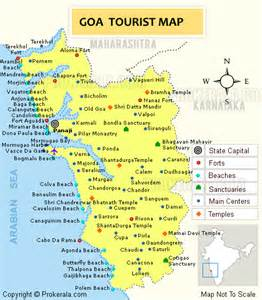 Goa Tourism   Goa Map Showing Tourist Destinations in State