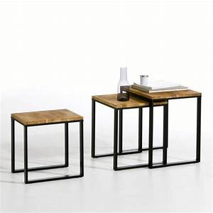 Table basse gigogne lot de 3 hiba naturel la redoute for Petit meuble maison du monde 5 table basse gigogne lot de 3 hiba noyer la redoute