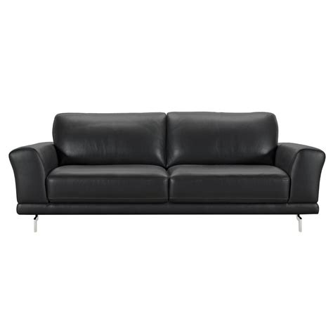 Black Contemporary Sofa by Armen Living Armen Living Genuine Black Leather