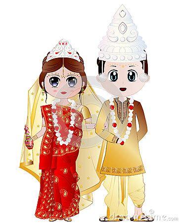 bengali wedding couple vector illustration stock