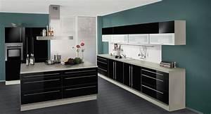 Küche Schwarz Hochglanz : wellmann k che in hochglanz schwarz mit kochinsel ebay ~ Michelbontemps.com Haus und Dekorationen