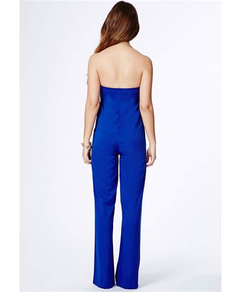 cobalt blue jumpsuit missguided casilda bandeau jumpsuit in cobalt blue in blue