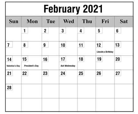 Free February 2021 Printable Calendar Template in PDF ...