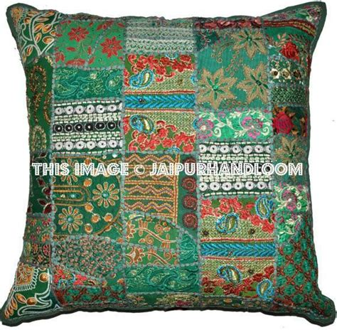 Bohemian Floor Pillows by 24x24 Quot Green Patchwork Throw Pillows For Bohemian