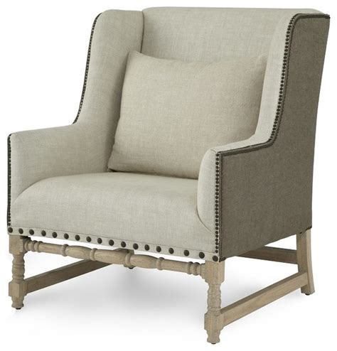 collection rolled arm chair beige linen finish