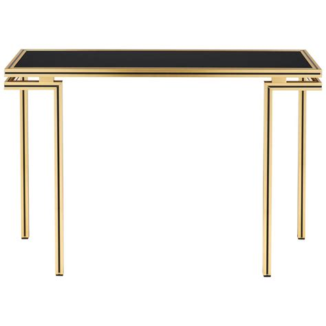 black glass console table vintage black glass top brass console table by pierre