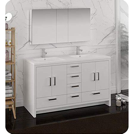 Freestanding Medicine Cabinet by 60 Quot Glossy White Free Standing Sink Bathroom Vanity